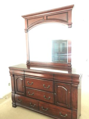 Wood bedroom set- Armoire and dresser for Sale in Costa Mesa, CA
