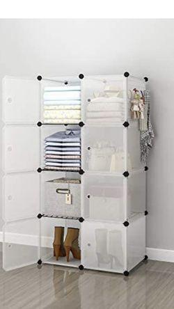 YOZO Portable Cube Storage Modular Wardrobe Clothes Closet, Bedroom Storage Shelves Cube Organizer, Polyresin Bookshelf Units (only Black Left) for Sale in Bakersfield,  CA