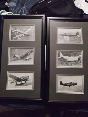 Ww2 anti aircraft flash cards matted and framed 6 total for Sale in Fresno, CA