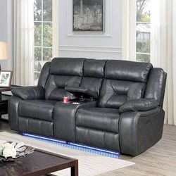 GRAY BREATHABLE LEATHERETTE GREY POWER LOVESEAT RECLINER SOTRAGE CONSOLE CUPHOLDERS LED LIGHT - SILLON RECLINABLE GRIS for Sale in Los Angeles,  CA