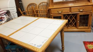 Cute oak table, 4 chairs & buffet for Sale in Colorado Springs, CO