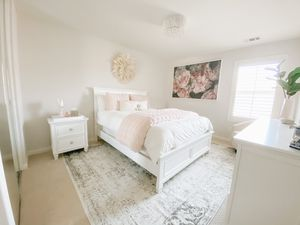 5 Piece Queen Bedroom Set - Queen TEMPUR-PEDIC Mattress - Rug - Babyletto Glider Chair with Ottoman (not pictured) - Large Canvas Art - DIY Juju hat for Sale in Temecula, CA
