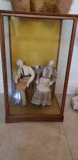 Antique wax dolls in glass case for Sale in Miami, FL