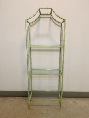 Vintage faux bamboo metal pagoda bookshelves /etagere for Sale in Dallas, TX