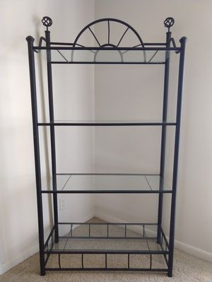 Metal frame display rack/stand with glass shelves for Sale in Fayetteville, AR