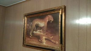 Very large leopard picture w custom frame for Sale in Clarksville, MO