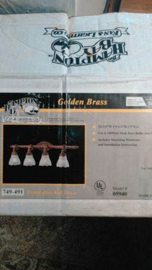 Golden brass 4 light bath fixture brand new still close in box for Sale in Dearborn, MI