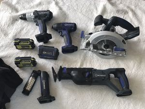 Kobalt 18V Cordless - 5 tools / 3 batteries / charger / carry bag for Sale in McLean, VA
