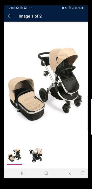 Babyroues Letour Avant Luxe Stroller with Bassinet Silver Frame, Tan Leatherette for Sale in Los Angeles, CA