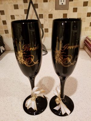 Champagne glasses bride and groom for Sale in Durham, NC