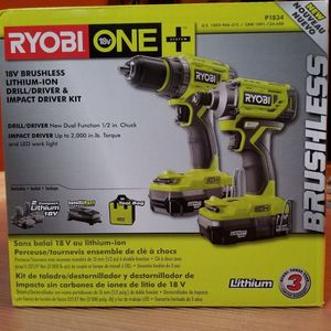 [NEW] RYOBI 18V ONE+ BRUSHLESS Drill & Impact Drive & Two Li-ion Batteries & Charger & Bag Kit. All For $130 for Sale in Tampa, FL
