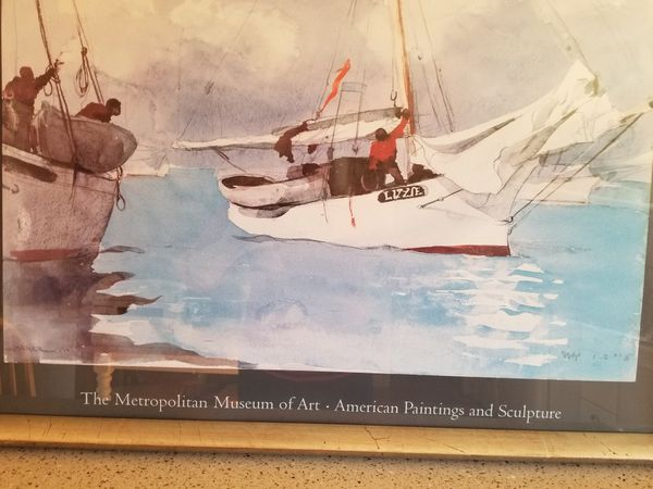 Mother's Day gift, mom seascape Large Art Poster, Fishing Boats, Key West, Winslow Homer, Framed, under glass, lithograph, sailing, Florida