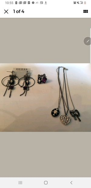 Guess Black/Gunmetal/Silver Charm Necklace, Hoop Earrings, Ring With Skull-Cameo for Sale in Lansing, MI