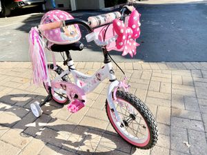 Minnie bike (with brakes) and helmet for kids for Sale in Sunnyvale, CA