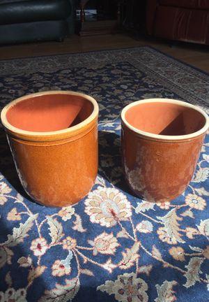 Vintage Rare All Brown Glazed Crock 6 liter & 8 liter for Sale in Leavenworth, WA