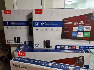 TCL 50 INCH SMART ROKU TV 4K UHD WITH HDR . BRAND NEW SEALED IN BOX WITH ALL ACCESSORIES !!! PRICE FIRM!! LOW OFFERS WILL BE IGNORED!!! for Sale in Orlando, FL