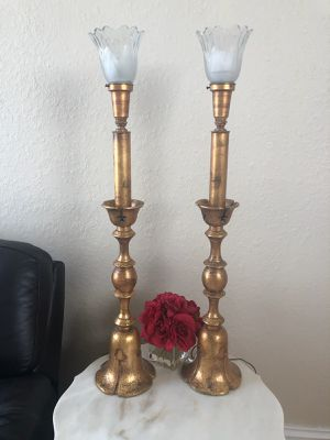 Matching Golden Rustic Antique Lamps for Sale in Davie, FL