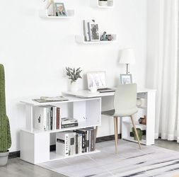 Modern L Shaped Rotating Computer Desk with Bookshelves - White for Sale in Hacienda Heights,  CA