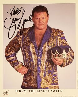 "In Person Autographed Official 8x10 WWF Entertainment Inc. Color Card Signed By Jerry ""The King"" Lawler - Wrestling Legend & Color Commentator for Sale in West Hollywood,  CA"