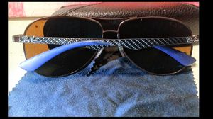 Authentic Ray Ban Sunglasses RB 8313 014/n6 Brown Carbon Fiber/Blue 61mm Polarized Made In Italy, and Case / Cleaning Cloth for Sale in San Fernando, CA