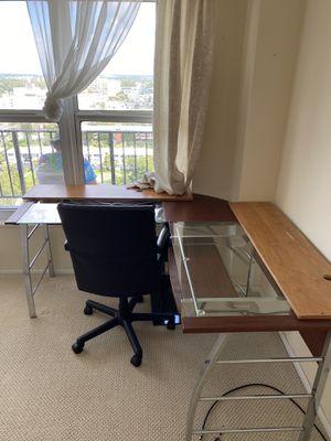 Glass, Metal, wood corner desk for Sale in Pompano Beach, FL