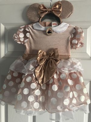 Rose Gold Minnie Mouse Costume with Ears for Sale in Redondo Beach, CA