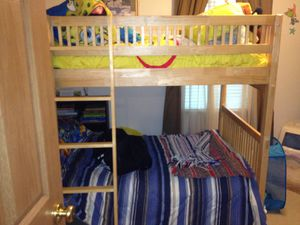Beautiful Blonde Hard Wood Bunk Bed Set W/Ladder, Top Rail, Nite Stand, Dresser, Desk, Chair, & Hutch for Sale in Pataskala, OH