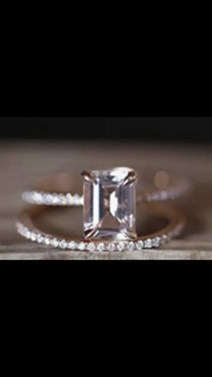Absolutely Stunning Emerald Cut WHiTE Topaz Set In 18 K Gold Over 925 Sterling Silver Engagement Ring Romantic Matching Wedding Band Two Piece Bridal for Sale in Glendale, AZ