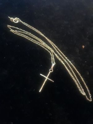 14K Gold Cross & Necklace 20 inch chain for Sale in Anaheim, CA