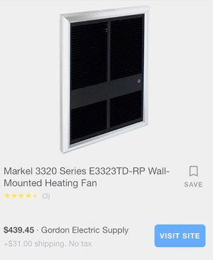 Markel 220v in-wall forced air heater for Sale in Morganza, LA