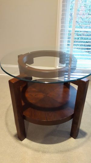 Antique wooden side table, round glass top for Sale in Dallas, TX