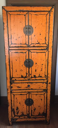 Burnt Orange Chinese Antique Armoire 100+ year old extinct oak for Sale in Portland,  OR
