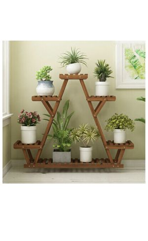 Carbonized Triangle 6 Tier Corner Wood Plant Stand Flower Pots Rack Shelf Holder for Sale in Los Angeles, CA