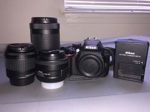 Nikon D3400 w/3 Lenses (35mm, 18-55mm, & 70-200mm) for Sale in Woodbridge, VA