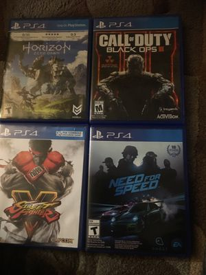 Pa4 games Call of duty ,Street fighter, Need for Speed and horizon zero dawn for Sale in North Springfield, VA