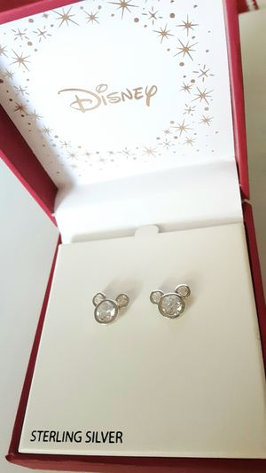 Shipping Only: New Disney sterling silver and 925 CZ small Mickey Mouse post earrings with box for Sale in Fullerton, CA