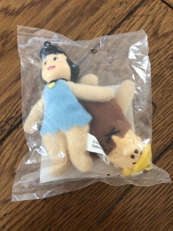 (IRVING, TX) 1989 Denny's Flintstones Barney and Betty Rubble Mini-Plush Ornaments