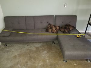 grey futon couch/bed 2 peices, was in game room. for Sale in Visalia, CA