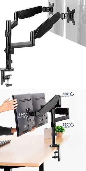 "(NEW) $35 VIVO Dual Monitor Arm Mount 17-32"" Screens Height Adjustable Full Articulating Tilt Swivel for Sale in South El Monte, CA"