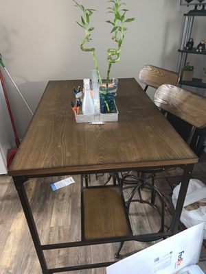 Wooden table with wine rack and Storage shelves for Sale in Dallas, TX