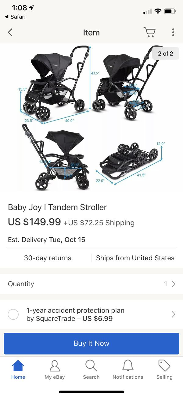 BabyJoy Double stroller Roomfor2 Stand and Ride Stroller
