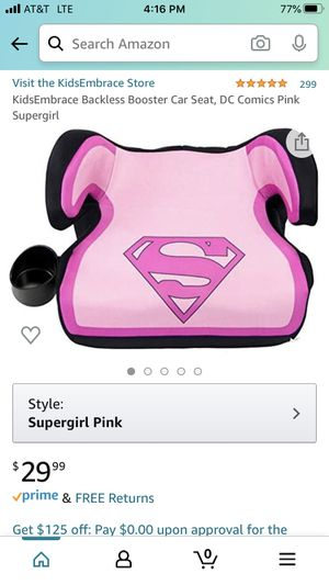 KidsEmbrace Backless Booster Car Seat, DC Comics Pink Supergirl for Sale in Bakersfield, CA