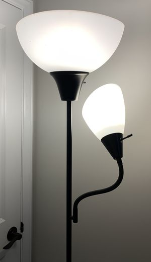 "71"" Tall Black Metal Working Torchiere Floor Standing Lamp With Reading Light for Sale in Chapel Hill, NC"