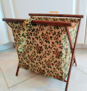 Vintage Floral Fabric Magazine Rack Folding Storage Bin Mid Century Retro for Sale in Sebastian, FL