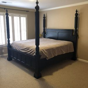 Ashley furniture solid wood king bed with boxes and frame for Sale in Augusta, GA