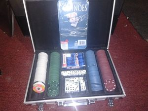 Poker set with dice Domino's cards chips for Sale in Odessa, TX