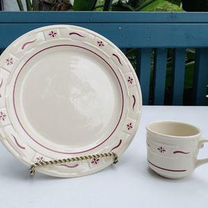 Longaberger Woven Traditions red dinner plate & mug for Sale in Huntington Beach, CA