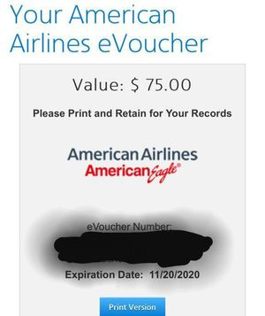 American Airlines eVoucher $75 credit for Sale in VLG OF LAKEWD, IL