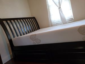 Full size wooden bed frame with 2 storage drawers $700 without mattress, $800 with. OBO for Sale in Ewa Beach, HI