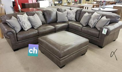 SaMe dY & free delivery💟Roleson Quarry LAF Leather Sectional 💟sofa, couch , living room □ for Sale in Houston,  TX
